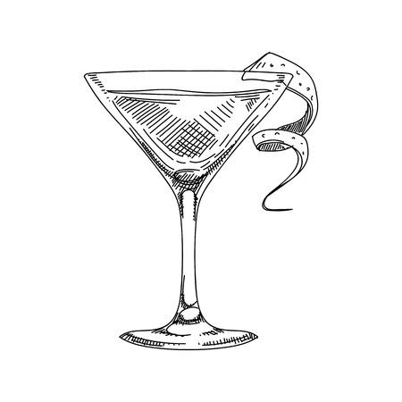 Hermoso vector dibujado a mano ilustración de cóctel. Imagen detallada de estilo retro. Elemento de dibujo vintage para diseño de etiquetas, envases y tarjetas. Fondo moderno.