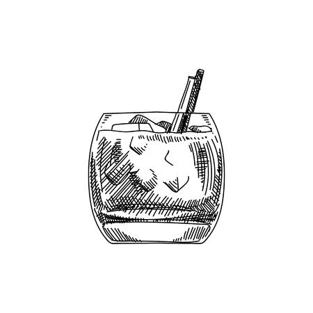 Hermoso vector dibujado a mano cóctel blanco ruso ilustración. Imagen detallada de estilo retro. Elemento de dibujo vintage para diseño de etiquetas, envases y tarjetas. Fondo moderno.