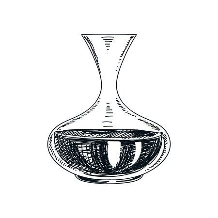 Beautiful vector hand drawn wine decanter Illustration. Detailed retro style image. Vintage sketch element for labels, packaging and cards design. Modern background. Vectores