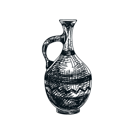 Beautiful vector hand drawn clay wine jug Illustration. Detailed retro style image. Vintage sketch element for labels, packaging and cards design. Modern background.
