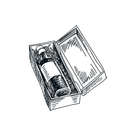 Beautiful vector hand drawn wine box Illustration. Detailed retro style image. Vintage sketch element for labels, packaging and cards design. Modern background.
