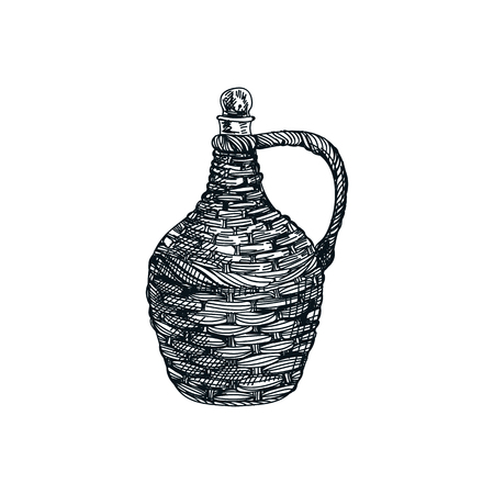 Beautiful vector hand drawn woven wine jug Illustration. Detailed retro style image. Vintage sketch element for labels, packaging and cards design. Modern background.