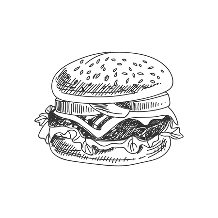 Beautiful vector hand drawn burger Illustration. Detailed retro style image. Vintage sketch element for labels, packaging and cards design. Modern background.