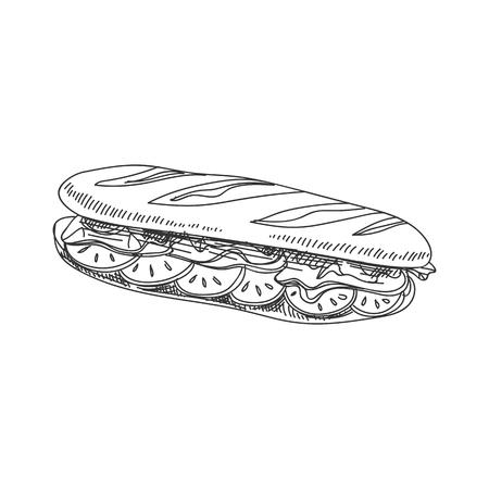 Piękny wektor ręcznie rysowane ilustracja bagietka kanapka. Szczegółowy obraz w stylu retro. Element szkicu Vintage do projektowania etykiet, opakowań i kart. Nowoczesne tło.