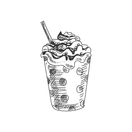 Beautiful vector hand drawn soft ice cream in a cup with a straw Illustration. Detailed retro style image. Vintage sketch element for labels, packaging and cards design. Modern background.