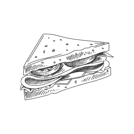 Beautiful vector hand drawn sandwich Illustration. Detailed retro style image. Vintage sketch element for labels, packaging and cards design. Modern background. Ilustrace