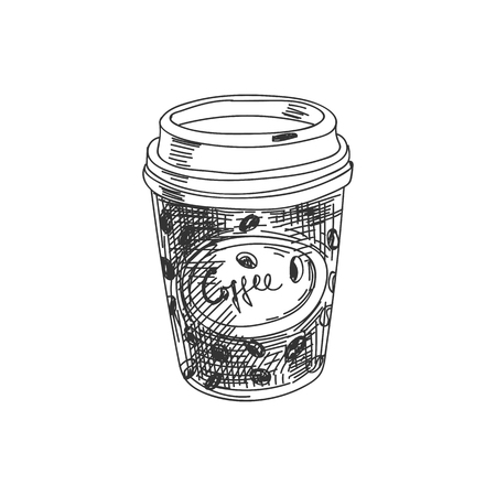 Beautiful vector hand drawn coffee to go Illustration. Detailed retro style image. Vintage sketch element for labels, packaging and cards design. Modern background.