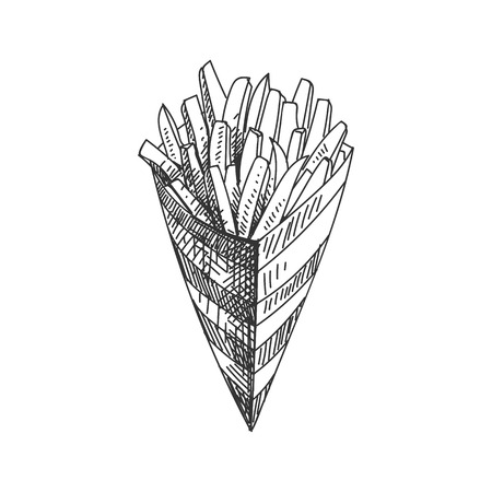 Beautiful vector hand drawn French fries Illustration. Detailed retro style image. Vintage sketch element for labels, packaging and cards design. Modern background. Illustration