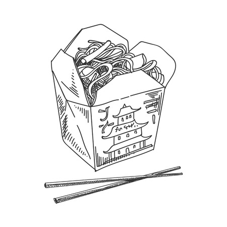 Beautiful vector hand drawn Asian noodles in a box with chopsticks Illustration. Detailed retro style image. Vintage sketch element for labels, packaging and cards design. Modern background. Illustration