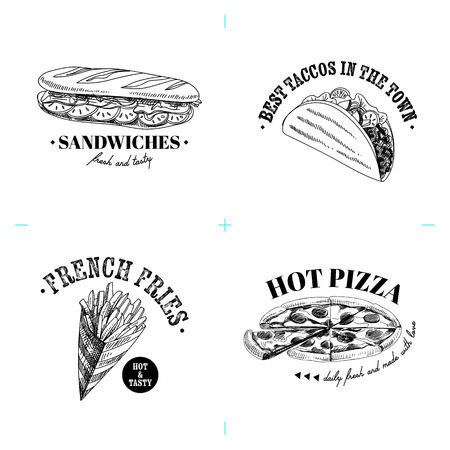 Beautiful vector hand drawn fast fod illustrations. Detailed retro style labels. Vintage sketches for logos. Elements collection for design. Ilustrace