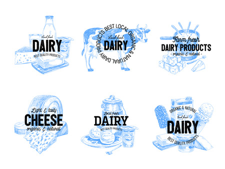 Beautiful vector hand drawn dairy products logos. Detailed retro style labels. Vintage sketches for logos. Elements collection for design. Chalkboard