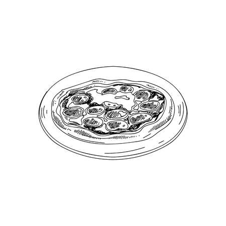 Vector hand drawn pizza. Ilustrace