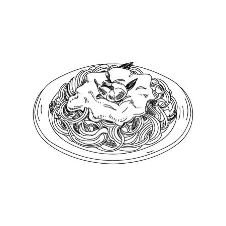 Spaghetti disegnati a mano di vettore con salsa e gamberetti. Vettoriali