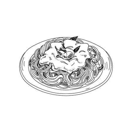 Vector dibujado a mano espaguetis con salsa y camarones. Ilustración de vector