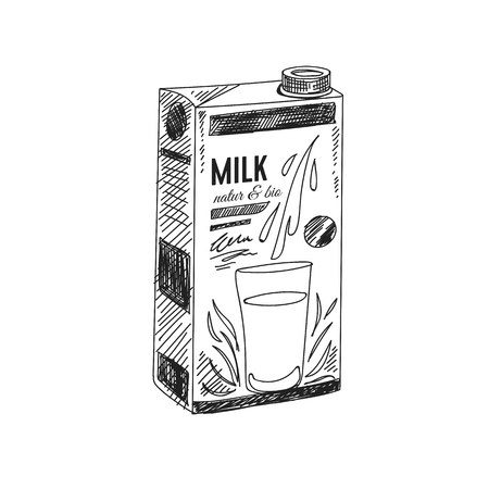 Beautiful vector hand drawn dairy Illustration. Milk box carton package. Vintage sketch element for labels, packaging and cards design. Modern background. Ilustração