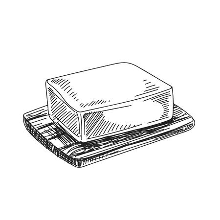 Bella illustrazione disegnata a mano della latteria di vettore. Stile retrò dettagliato un pezzo di immagine burro. Elemento di schizzo vintage per il design di etichette, imballaggi e carte. Sfondo moderno.