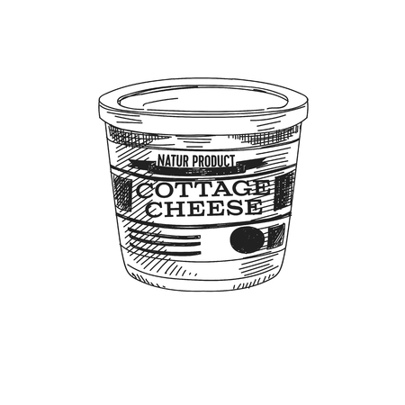 Beautiful vector hand drawn dairy Illustration. Detailed retro style cottage cheese image. Vintage sketch element for labels, packaging and cards design. Modern background.
