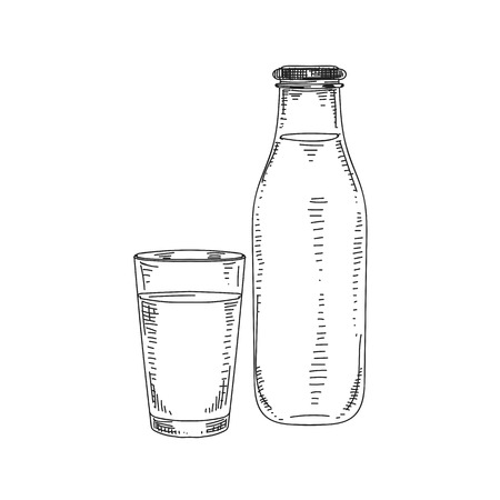 Beautiful vector hand drawn dairy Illustration. A bottle and a glass of milk. Vintage sketch element for labels, packaging and cards design. Modern background.