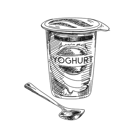 Bella illustrazione disegnata a mano della latteria di vettore. Immagine dettagliata dello yogurt in stile retrò. Elemento di schizzo vintage per il design di etichette, imballaggi e carte. Sfondo moderno.