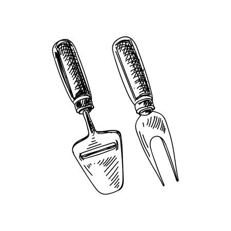 Beautiful vector hand drawn Cheese cutters Illustration.