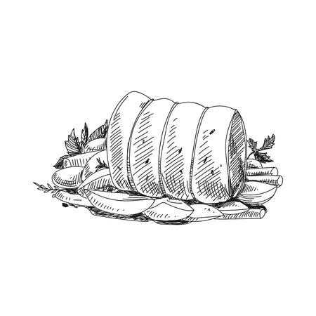 美しいベクトル手描き肉製品イラスト。●レトロスタイルのポークロールイメージを詳細に。ラベル、パッケージング、カードデザインのためのヴィンテージスケッチ要素。現代の背景。