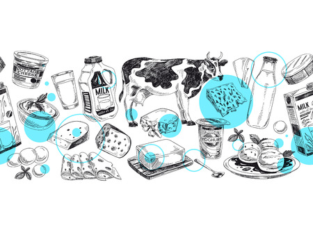Beautiful vector hand drawn dairy products  Illustration. Ilustrace