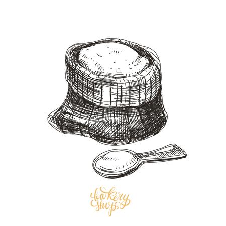 Beautiful vector hand drawn bakery Illustration.