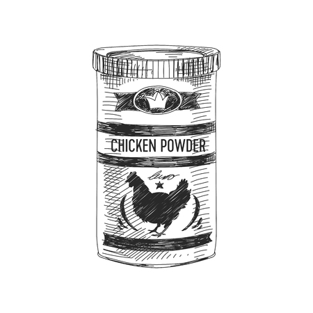 Beautiful vector hand drawn chicken powder Illustration. Detailed retro style image. Vintage sketch element for labels, packaging and cards design. Modern background.