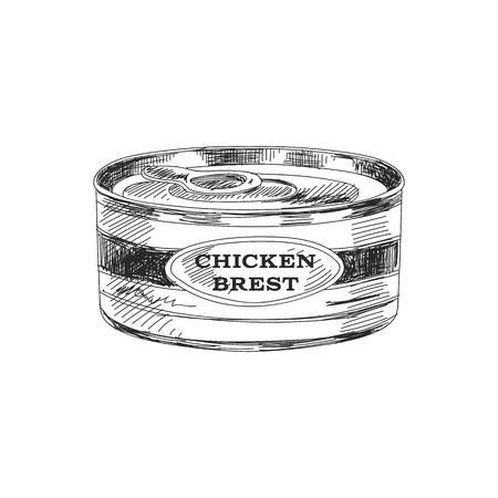 Conserves de poulet dessinés à la main de beau vecteur