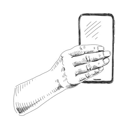 Hand holding smartphone on white
