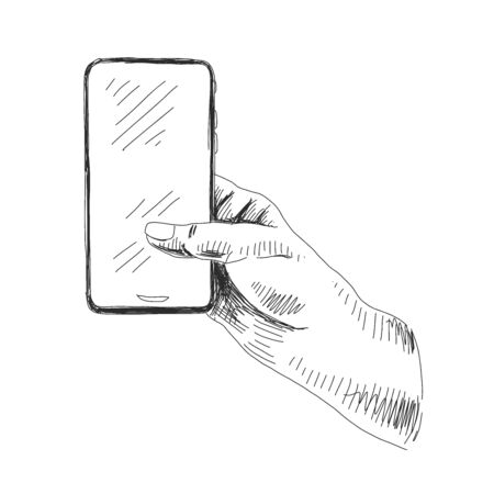Hand holding smartphone on white  イラスト・ベクター素材