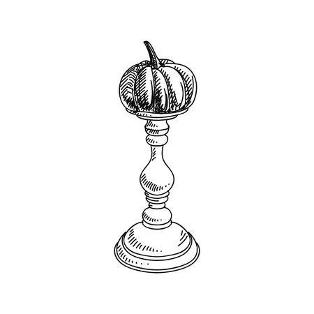 Pumpkin holder stand hand drawn vector illustration