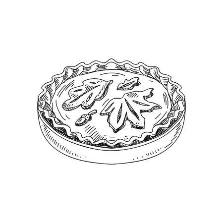 Pumpkin pie hand drawn vector illustration