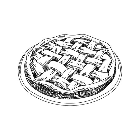 Apple pie hand drawn vector illustration Ilustração
