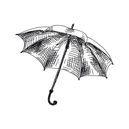 Open umbrella hand drawn vector illustration Vetores