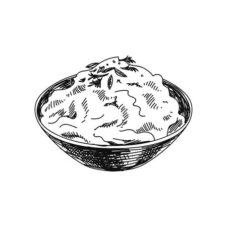 Mashed potato hand drawn vector illustration 矢量图像