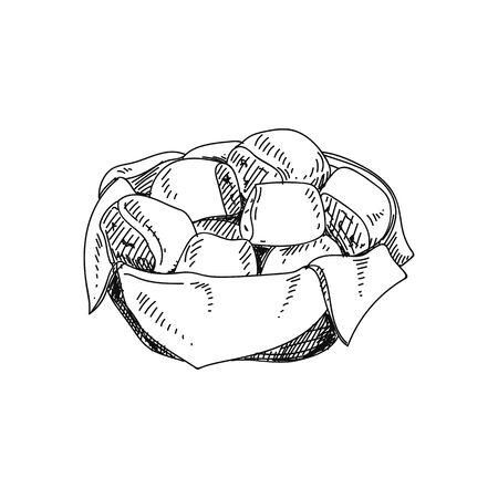 Abendessen Brötchen handgezeichnete Vektor-Illustration