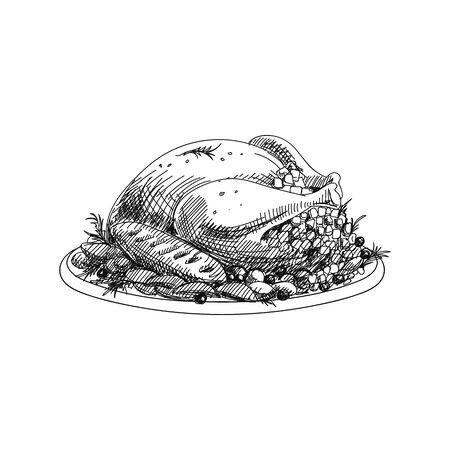 Roasted turkey hand drawn vector illustration