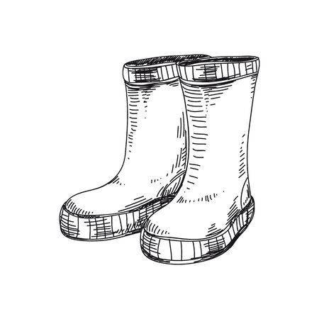 Rubber boots hand drawn vector illustration. Autumn waterproof wellington shoes. Classic rain proof boots. Sketch design element isolated on white. Galoshes, gumboots ink pen freehand drawing Ilustração