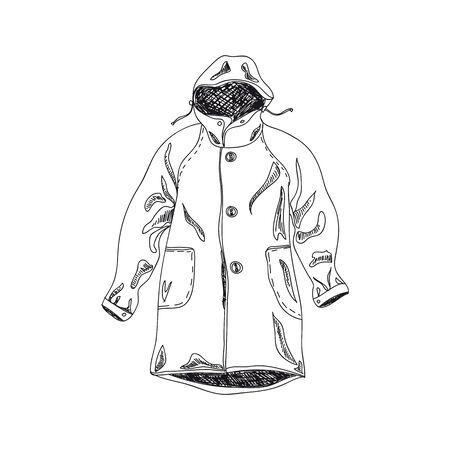 Autumn coat hand drawn vector illustration