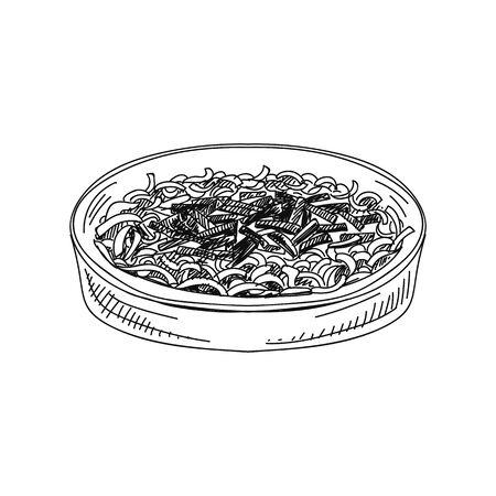 Casserole de haricots verts illustration vectorielle dessinés à la main