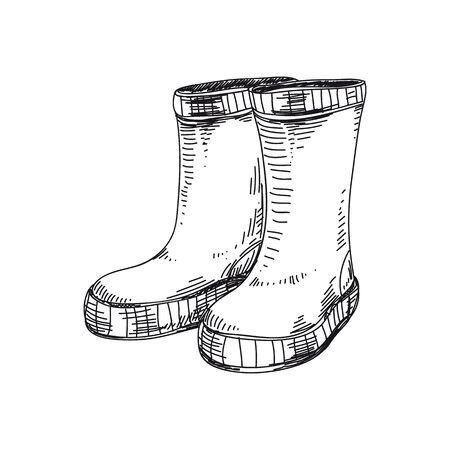 Illustration vectorielle de bottes en caoutchouc dessinés à la main