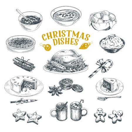 Conjunto de ilustraciones dibujadas a mano de platos navideños Ilustración de vector