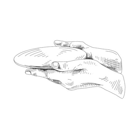 Hand holding plate hand drawn sketch