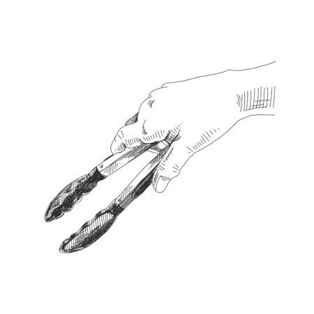 Hände mit Küchenzange handgezeichnet