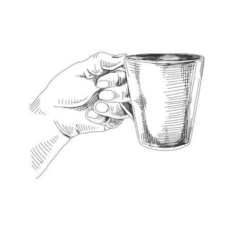 Main de vecteur tenant la tasse avec de l'encre de thé