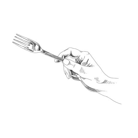 Hand holding fork black and white