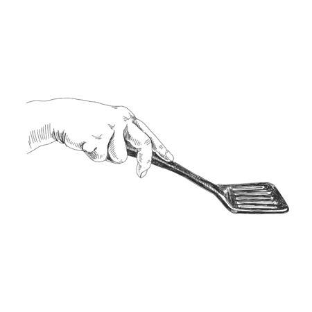 Main tenant le croquis à l'encre noire de la spatule Vecteurs