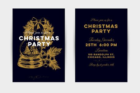 Christmas party vector invitation card template Illustration