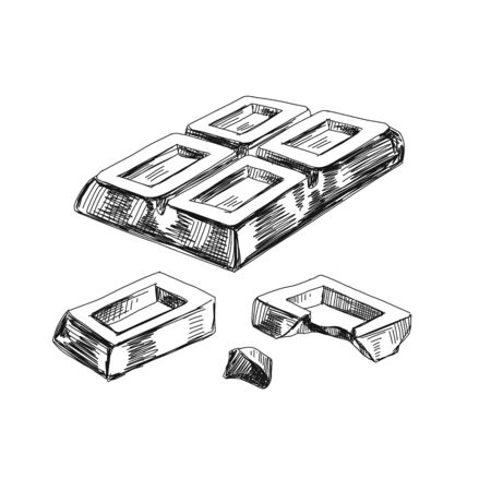 Broken chunks of chocolate hand drawn vector illustration